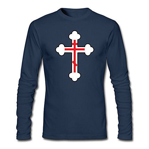 Men's Eastern Orthodox Cross Long Sleeve T Shirt Navy]()