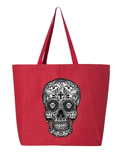 (Shop4Ever Skull Black & White Heavy Canvas Tote Day of the Dead Reusable Shopping Bag 10 oz Red 3 Pack)