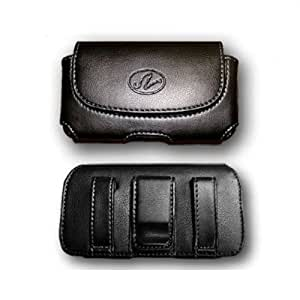 BLACK HORIZONTAL LEATHER COVER BELT CLIP SIDE CASE POUCH FOR BlackBerry Pearl 8100 8110 8120 8130