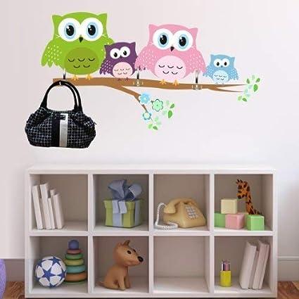 Graz Design - Adhesivo decorativo para pared búho perchero ...