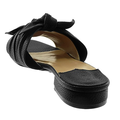 Negro on Cm Ancho Angkorly Slip Mules Sandalias Moda Nodo Tacón Mujer 3 Zapatillas Granulado w7qFOX