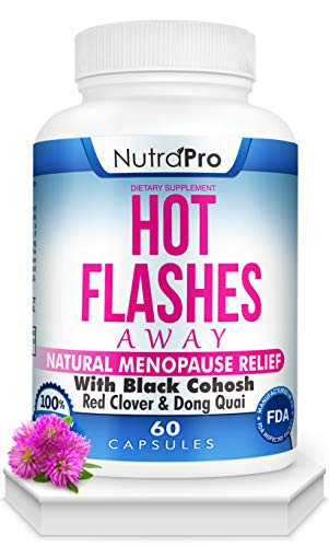 Hot Flashes Menopause Relief -All Natural Menopause Supplement with Black Cohosh for Hot Flashes,Night Sweats,Mood Swings & Anxiety Relief.60 Caps.Made in GMP Certified Facility.