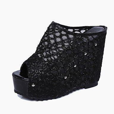 LvYuan Mujer-Tacón Cuña-Confort-Zapatillas y flip-flop-Oficina y Trabajo Vestido Informal-PU-Negro Beige beige