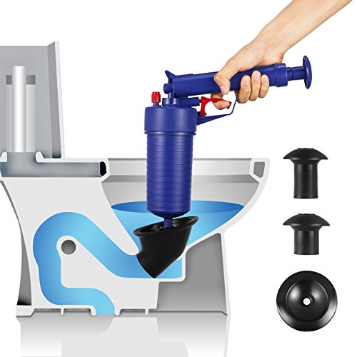 Bert Toilet Plunger, Air Drain Blaster, Pressure Pump Cleaner, High Pressure Plunger Opener Cleaner Pump for Bath Toilets, Bathroom, Shower, Kitchen Clogged Pipe Bathtub (Blue-NEW)