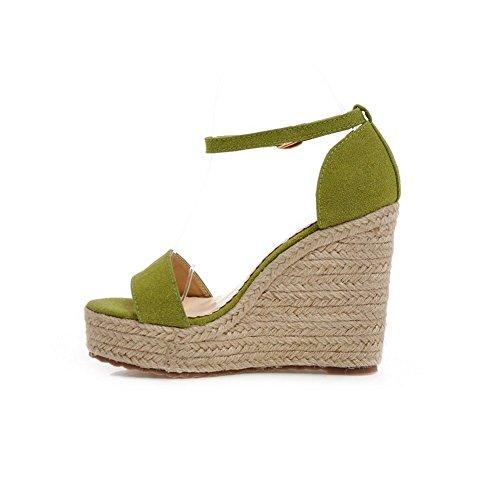 Adee Ladies trenza esmerilado Cuñas Sandalias Verde - verde