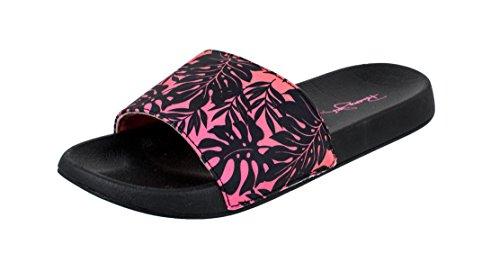 Panama Jack Ladies Tropic Print Casual Sport Slide Sandal, Black, Size 10-11