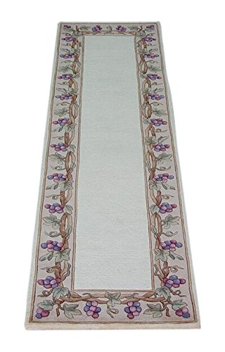 KAS Oriental Rugs Emerald Collection Grapes Border Runner, 2'6