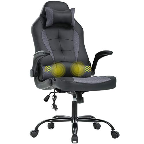 Gaming Chair Massage Office Chair Racing Desk Chair Ergonomic PC Executive High Back PU Leather Computer Chair with Lumbar Support Headrest Armrest Task Rolling Swivel Chair for Women Adults, Grey