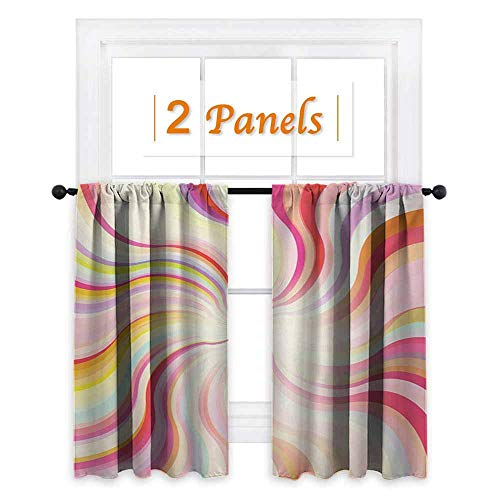 - shenglv Pastel Room Darkening Wide Curtains Abstract Sunburst Design Wavy Lines Sixties Seventies Style Psychedelic Retro Rays Decor Curtains by W63 x L45 Multicolor
