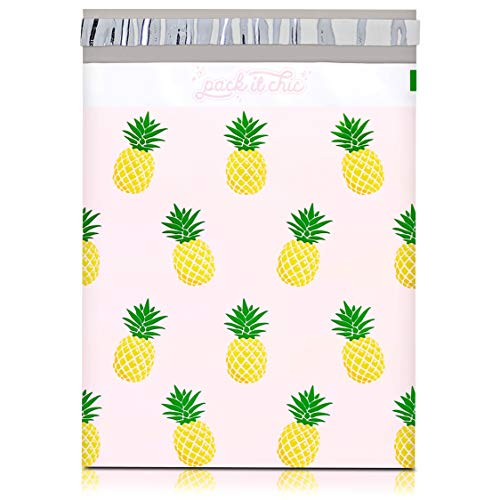 Pack It Chic - 10X13 (100 Pack) Tropical Pineapple Poly Mailer Envelope Plastic Custom Mailing & Shipping Bags - Self Seal (More Designs Available)