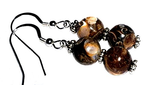 Fossil Round Earrings - Turritella fossil agate earrings; Brown natural gemstone dangle earrings; Sterling silver ear-wire; Handmade in Washington State;