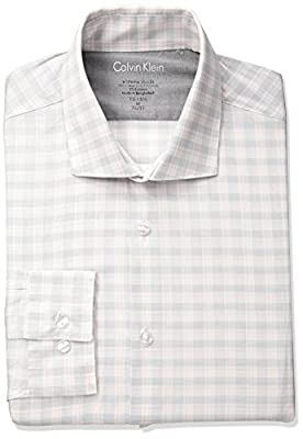 Calvin Klein Men's Stretch Xtreme Slim Fit Plaid Spread Collar Dress Shirt