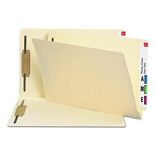 End Tab Folders 2 Fasteners (Smead Heavyweight End Tab Fastener File Folder, Shelf-Master Reinforced Straight-Cut Tab, 2 Fasteners, Legal Size, Manila, 50 per Box (37215))