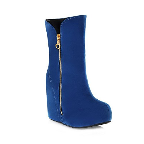 Solid AmoonyFashion Heels and Short Round Platform Closed Womens Blue Plush Boots Toe High with Inside Heighten n8gXq8Fxrw