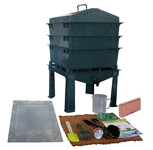 4-Tray-Worm-Compost-Bin-iTower-Dark-Green