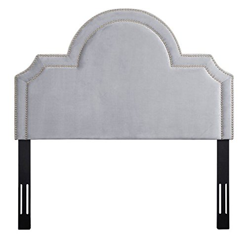 TOV Furniture The Laylah Collection Velvet Upholstered Wood & Metal Headboard, Full Size, Gray by Tov Furniture
