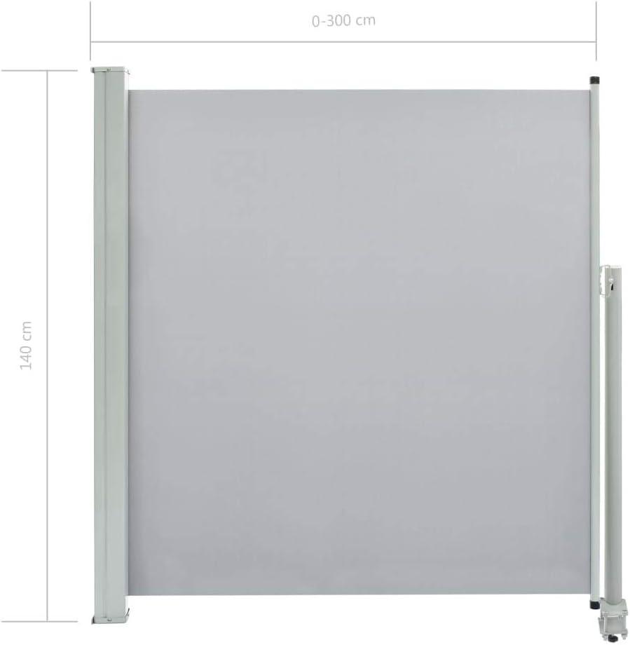 Tidyard Tenda da Sole Laterale Retrattile,Tenda Paravento per Esterno Tendalino per Patio Terrazzo 100 x 300 cm Grigia Protezione da Sole da Giardino