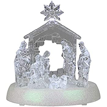 Northlight LED Holy Family in Stable Christmas Nativity Scene 7.5 Inch