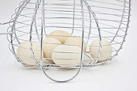 Sungpunet Cesta del Huevo de Alambre de Plata Chickenshaped para Utensilios de Cocina de decoraci/ón del hogar