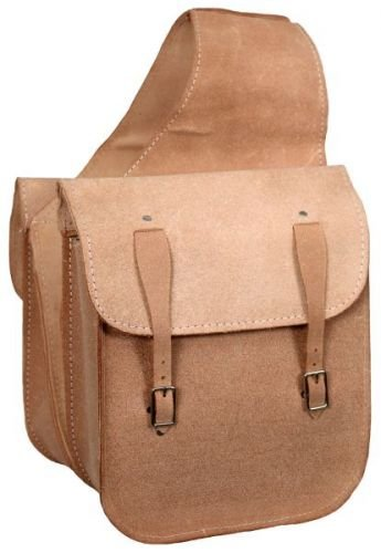 Rough Out Leather Saddle Bag Double Buckle Closure