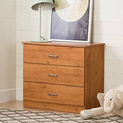 Country Pine Smart Basics 3-Drawer Chest with Metal Handles, Contemporary Style, Made of Engineered Wood Products, Assembly Required, Store Blankets, Linens, Clothing and Some Items, BONUS FREE E-book