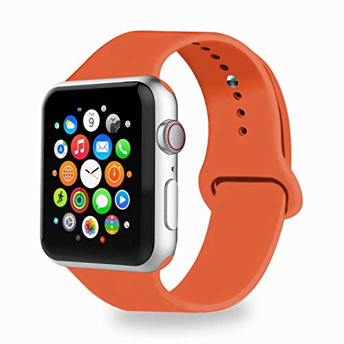 IYOU Sport Band Compatible with Watch Band 38MM 42MM 40MM 44MM, Soft Silicone Replacement Sport Strap Compatible with 2018 Watch Series 4/3/2/1 (Apricot,42/44MM S)