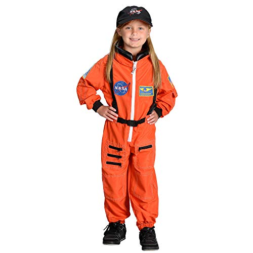 Aeromax Jr. Astronaut Suit with Embroidered Cap, Size 4/6 – Orange