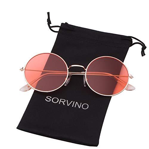 Round Retro Sunglasses Men Women Steampunk Style Circle Sun Glasses (Gold Frame/Red Lens, 50) ()