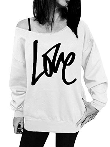 Jumpers Sweat paule Pullover Tops Shirts Printemps et Automne Simple Oblique Impression Longues Fashion Hauts Fashion Lache Blouse Blanc Manches T Shirts Casual Pulls Femmes Lettre pUXqWg4