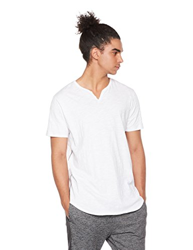 Shirt Mens Xl T-shirt (Rebel Canyon Men's Young Longline Shirt-Tail Short Sleeve Henley T-Shirt With Curved Hem XL True White)