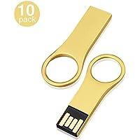 KOOTION 10PCS 8GB USB2.0 Flash Drives Water Resistant Metal Thumb Drives Memory Stick Pen drive, Gold