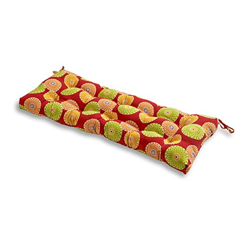 Greendale Home Fashions Indoor/Outdoor Bench Cushion, Flowers on Red, 51-Inch