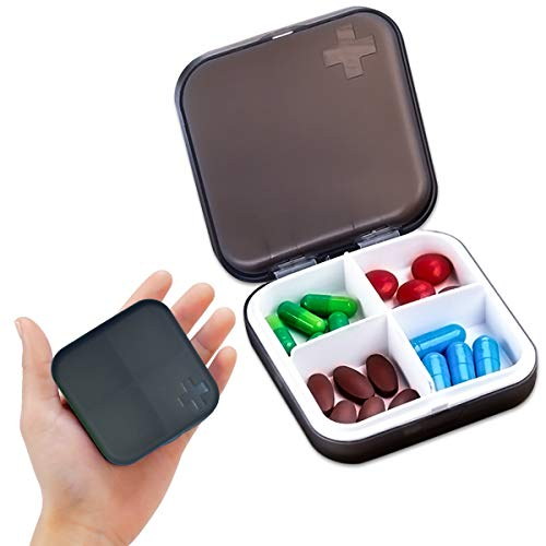 - Pill Case Compartment Portable Pill Organizer Divided Vitamin Box Medicine Holder for Daily and Travel Use-4 Compartment