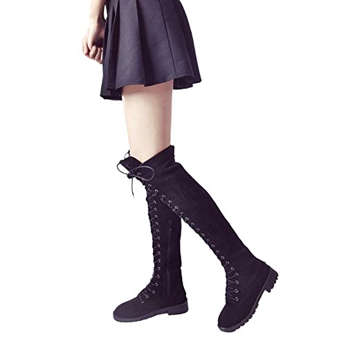 Fuyingda Womens Ladies Knee Thigh High Low Flat Heel Over The Knee Bandage Boots Black Shoes Black 8RICxPx