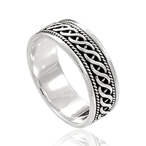 925 Sterling Silver Woven Celtic Knot Band Ring Nickel Free