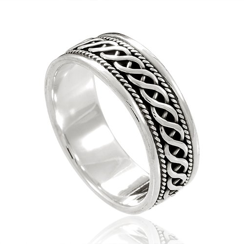 Chuvora 925 Sterling Silver Woven Celtic Knot Band Ring - Nickel Free Size 13 (Celtic Knot Design Ring)