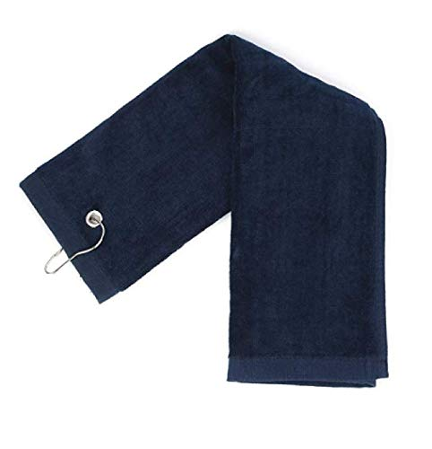 (Ecoonlinemarket Terry Velour Tri-Fold Golf Towel with Metal Clip Cotton Terry-Cloth Hang on Golf Bag, Size 16 x 25 Inches (Navy, 1) )