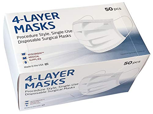 WMS Wisconsin Medical Supplies 4-Layer Ear Loop Face Masks