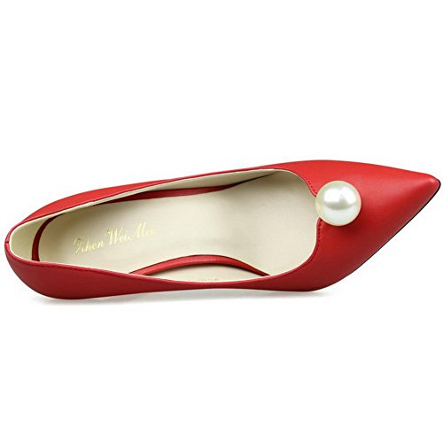 AalarDom Womens Kitten-Heels Pointed-Toe Pull-On Blend Materials Pumps-Shoes Red-jewels 95UcKp