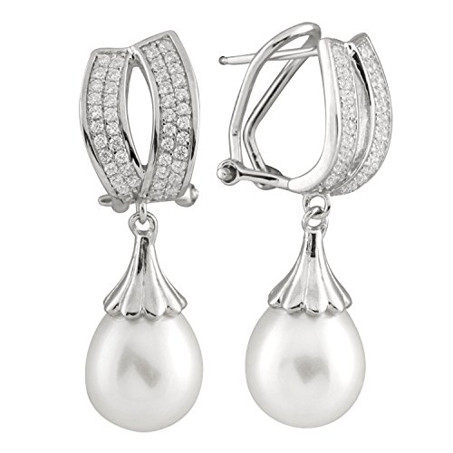 925 Sterling Silver Omega-Clip Dangle Earrings 9-9.5mm Handpicked AA Quality Freshwater Cultured Pearls CZ Accent (White)