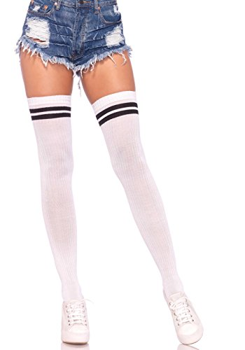 Leg Avenue Women's Ribbed Athletic Thigh Highs, White/Black, (Ribbed Thigh Highs)