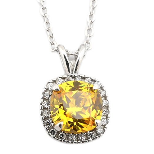 Citrine Cushion Necklace - Solid Sterling Silver Rhodium Plated Simulated Citrine and CZ 9mm Cushion Cut Halo Pendant Necklace - 18