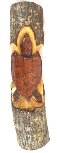 HAND CARVED WOOD BEAUTIFUL SEA TURTLE CARVING IN THE LOG WALL ART