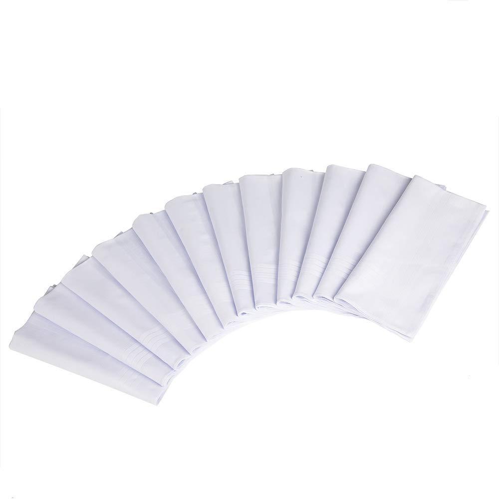 White Handkerchiefs-100% Cotton for Men-Pack of 12