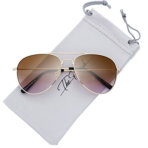 The Fresh Classic Large Metal Frame Oceanic Color Lens Aviator Sunglasses with Gift Box (Gold, - High Street Sunglasses