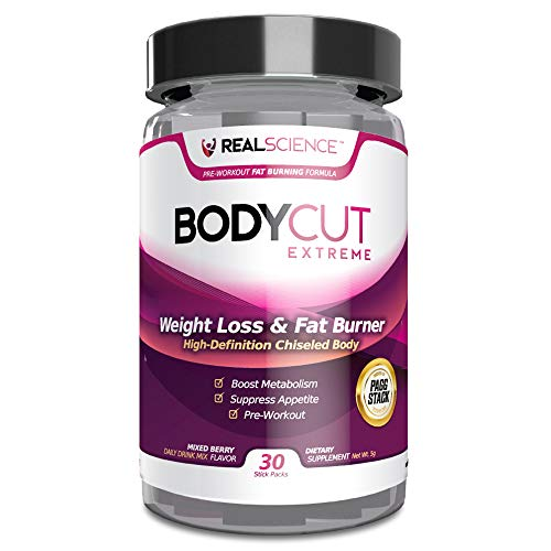 Real Science Nutrition Body Cut Extreme Weight Loss Supplement Drink for Fat Burning and Muscle Building Support - with PAGG Stack Technology (30 Stick Packs)