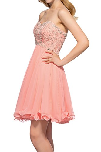 Prom Style Damen Prinzessin Chiffon Traegerlos Abendkleider Ballkleider Cocktailkleider Kurz Partykleider mit Schnuerung