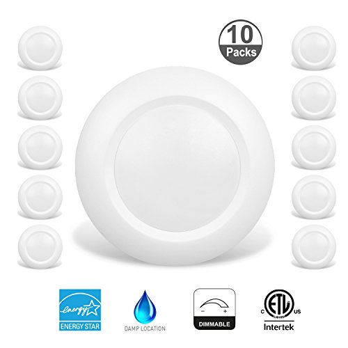 JULLISON-4-Inch-LED-Low-Profile-Recessed-Surface-Mount-Disk-Light-Round-10W-600-Lumens-3000K-Warm-White-CRI80-DOB-Design-Dimmable-ENERGY-STAR-cETLus-Listed-1-PackWhite-