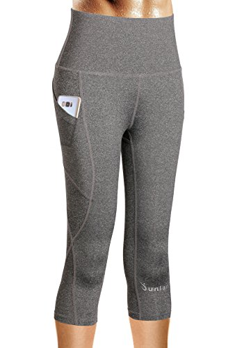 Junlan Yoga Leggings Pants Fitness Workout Running Sports Activewear Workout Capris Leggings (Grey, XL)