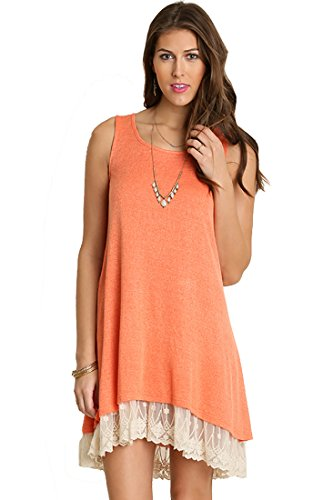 Womens Orange Tank Dress (Umgee Oh Me Oh My! Sheer Knit Tank Dress Lined With Lace Trim (Large, Tangerine))